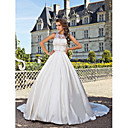 Ball Gown Jewel Chapel Train Satin Wedding Dress