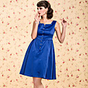 TS VINTAGE Square Neck Royal Blue Dress