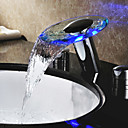 LED Waterfall Two Handles Hydroelectric Power Glass Bathroom Sink Faucet Chrome Finish