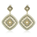 Lovely Alloy with Beads and Crystals Square Chandelier Earrings(More Colors)
