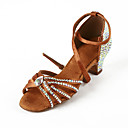 Women's Rhinestone / Satin Upper Ankle Strap Latin / Salsa Dance Shoes