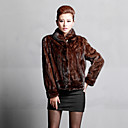 Long Sleeve Turndown Collar Mink Fur Evening/Career Jacket