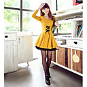 Women's Lace Slim Tieback Long Sleeve Dress