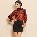 TS Gathered Collar Leopard Print Puff Sleeves Shirt