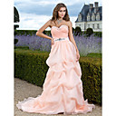 A-line Sweetheart Sweep/Brush Train Organza Evening Dress