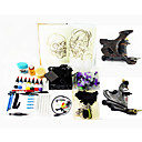 2 Damascus Steel Tattoo Machine Guns Kit with LED Power and 7*30ml Ink