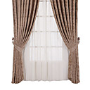 (Two Panels) Traditional Floral Jacquard Brown/Khaki Energy Saving Curtains
