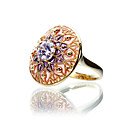 Elegant 23K Gold Plated Cubic Zirconia Ring