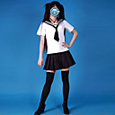 Cute Girl White and Black Cotton Sailor School Uniform(4 Pieces)