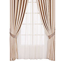 (Two Panels) Classic Grace Solid Jacquard Energy Saving Curtains