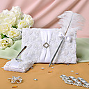 White Rose Guest Book and Feather Pen Set