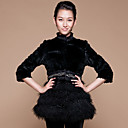 Half Sleeve Collarless Rex Rabbit Fur And Lamb Fur Casual/Party Coat (More Colors)