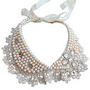 Vintage Exaggerated White Pearl Lace False Collar Necklace