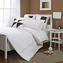 White Geometric Corduroy Twin / Queen / King 3-Piece Duvet Cover Set