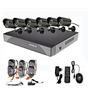 8 Channel Surveillance Security System 6 Outdoor Warterproof Camera Night Vision