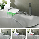 Contemporary Chrome Finish Color Changing LED Waterfall Tub Faucet