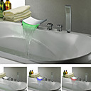 Chrome Finish Contemporary Color Changing LED Waterfall Tub Faucet