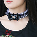 Elegant Bead Flower Bow Lace Choker Necklace