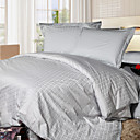 Jacquard Grey Plaid Full / Queen 4-Piece Duvet Cover Set