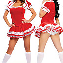 Fantasia Adulto bonito Red Mulheres Natal Costume (4 peas)