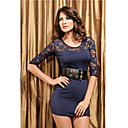 Women's Dark Blue Sexy Lace Sleeve Dress(Length:63cm Bust:86-102cm Waist:58-79 Hip:90-105cm)