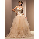 Ball Gown Sweetheart Floor-length Lace And Tulle Wedding Dress