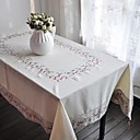 Classic Cotton linen Blend Ivory Floral Table Cloths