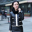 Long Sleeve Collarless Lambskin Leather Casual/Office Jacket With Scarf (More Colors)