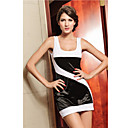 Damen Sexy Schwarz-Wei-Kurven Mini Dress (Lnge: 62cm Bste :86-102cm Taille :58-79 Hip :90-104cm)