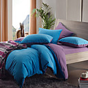 4PCS Morden Dark Blue/Purple Solid Flannel Duvet Cover Set