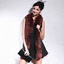 Raccoon Fur Shawl Collar Lambskin Leather Casual/Party Vest (More Colors)