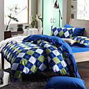 Morden Blue/Green Diamond Flannel Full / Queen / King 4-Piece Duvet Cover Set