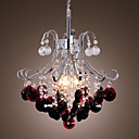 60W E27 Wine Red Chandelier in Crystal Ball Feature