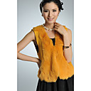 Collarless Rabbit Fur & Knit Casual/Party Vest (More Colors)