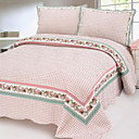 3PCS Country Plaid Cotton Queen Size Quilt Set