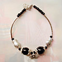 Women's Black Balls Simple Silver Bracelet