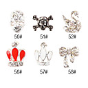 5PCS 3D Alloy Nail Decorations Diamond nr. 9 (assorti kleur)