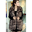 Turndown Collar Fox Fur Casual/Party Vest