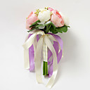 Pretty Round Shape Satin Rose With Ribbon Wedding Bridal Bouquet