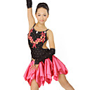 Performance Dancewear Spandex and Satin with Crystal and Flowers Latin Dance Dress For Children