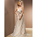 Sheath/Column Sweetheart Sweep/Brush Train Lace And Satin Wedding Dress