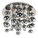 160W Modern Beaded Flush Mount Light with 8 G4 Lights in Stainless Steel Design