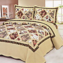 3PCS Rose Pattern Cotton Queen Size Quilt Set
