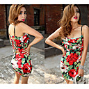 Women's Floral Print Strap Dress with Back Cutouts
