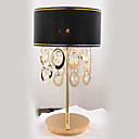 60W Contemporary Table Light with Black Fabric Shade and Crystal Pendants