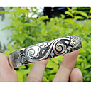 Women's Silver Black Carved Flower Silver Bracelet