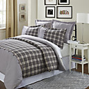 3PCS Nekso Dobby Cotton Check With Buttons Twin/Queen/King Duvet Cover Set