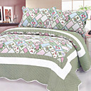 3PCS Green Patchwork Cotton Queen Size Quilt Set