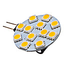 Lampadina LED, luce bianca/calda G4 12x5050 SMD 2-2.5W 120-130LM 2800-3200K (12V)