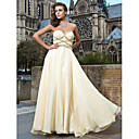 A-line Sweetheart Strapless Floor-length Chiffon And Tulle Evening Dresses